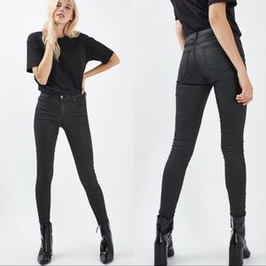 Topshop Black Coated Leigh Jeans